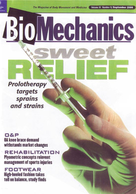 Prolotherapy in BioMechanics Magazine